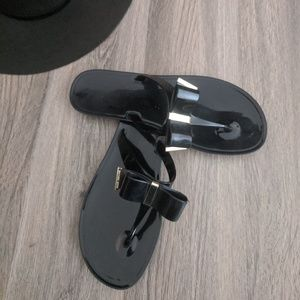 Michael Kors Kayden Black Jelly Bow Sandals 9.5
